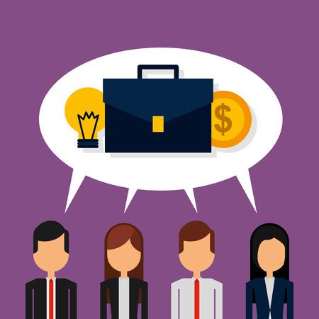 business people speak bubble suitcase coins money vector illustration
