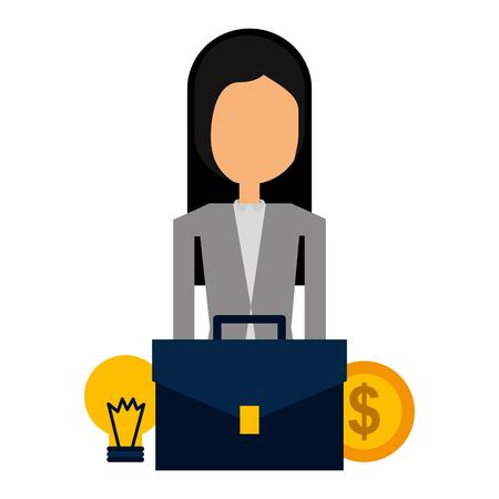 Businesswoman suitcase and money bulb light vector illustration Ilustracja