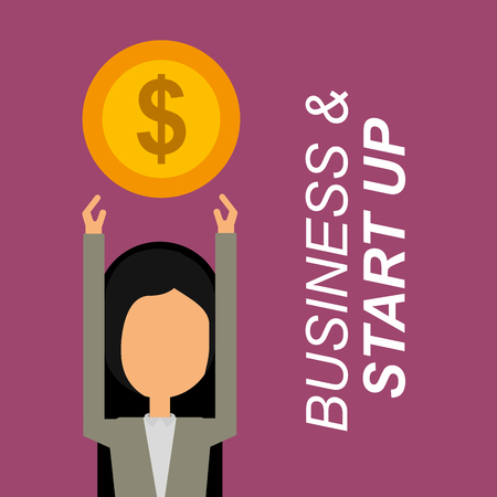 businesswoman portrait arms up trophy business and start up vector illustration