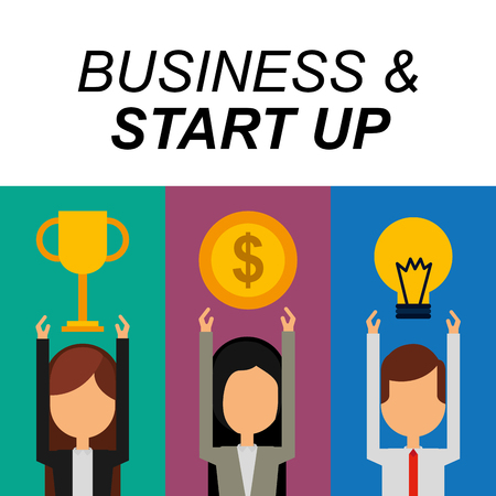 Business people success trophy money bulb idea business and start up vector illustration Illustration