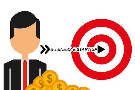 businessman target money business and star up vector illustration
