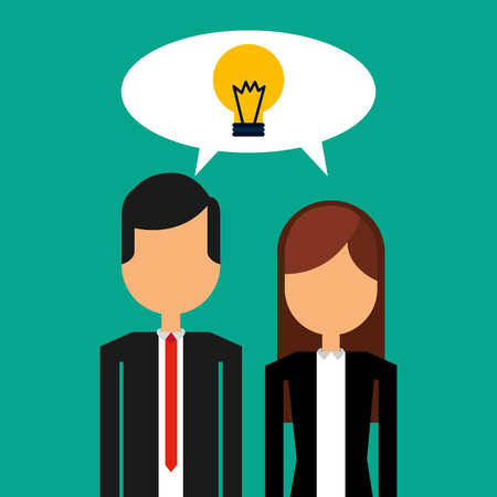 businesspeople portrait speech bubble bulb idea vector illustration