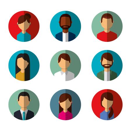 people avatars social media characters round icons vector illustration Ilustração