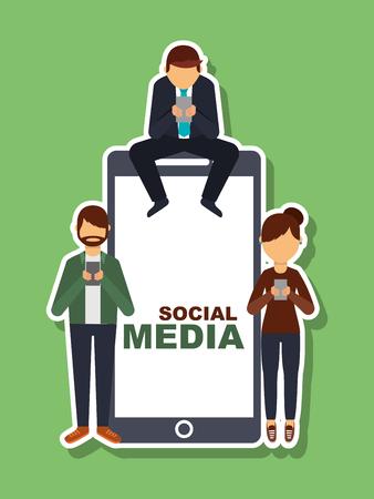 people using mobile phone and big smartphone social media vector illustration Illustration