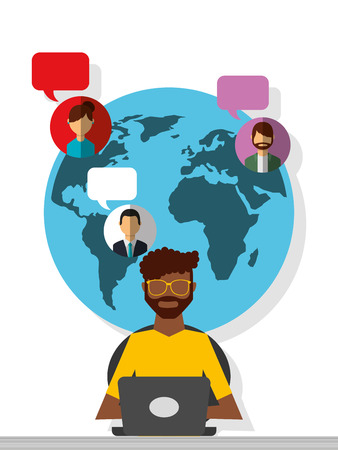 afro american man working laptop world people communication vector illustration