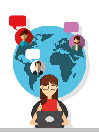 woman sitting with laptop chatting globe people bubbles vector illustration