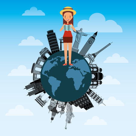 cute young woman with map tourist in world differents monuments Illustration