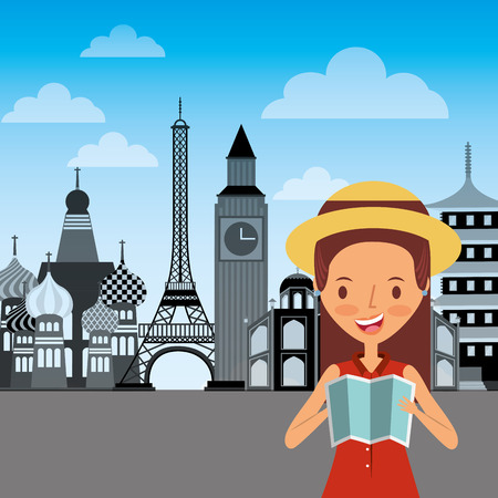 happy girl traveler holding folded map and landmark of world
