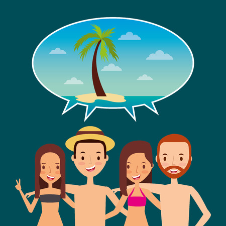 people tourist speech bubble beach palm icon vector ilustration