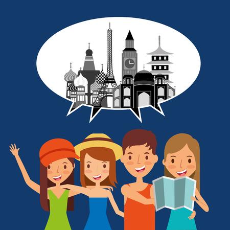 people travelers tourist speech bubble landmark icon vector ilustration