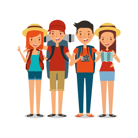 couples happy travelers tourist vacation people icon vector ilustration  イラスト・ベクター素材