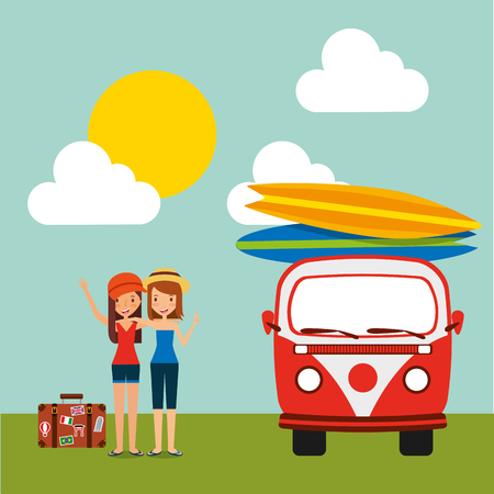 travel vacations tourist girls with retro van surfing boards sunny sky