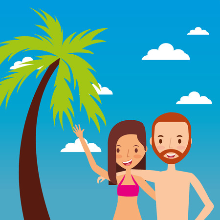 couple tourist waving hand happy with tropical landscape Archivio Fotografico - 95389818