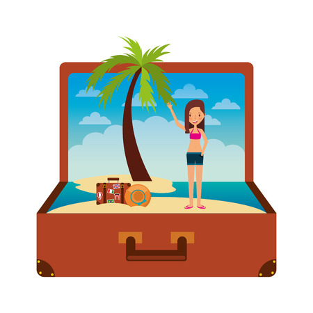 vintage suitcase girl traveler with hat palm beach inside vector illustration