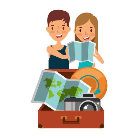 Glückliches Paar Reisende Touristen mit Koffer Hut und Karte Standard-Bild - 95395996