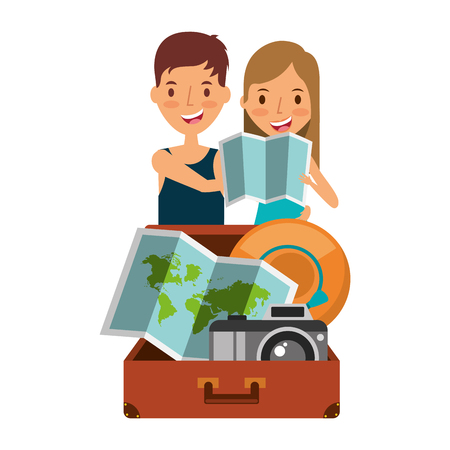 happy couple travelers tourist with suitcase open hat camera and map