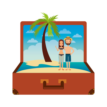 vintage suitcase couple inside with beach palm vacation vector illustration