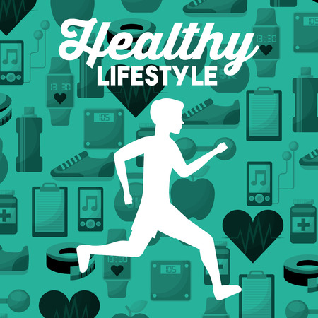 white silhouette man running healthy lifestyle sport icons background vector illustration
