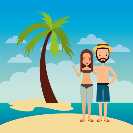 couple embrace happy in island beach tropical palm