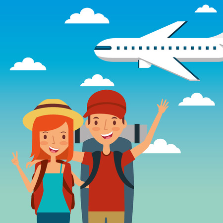 travelers happy young couple and airplane flying Imagens - 95389960