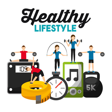 people sporty fitness weight scale barbell tape measuring music healthy lifestyle vector illustration Archivio Fotografico - 95390150