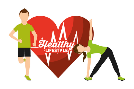 heart rate man and woman sport activity healthy lifestyle vector illustration Stock Vector - 95390152