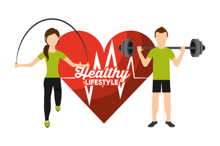heart rate man and woman sport activity healthy lifestyle vector illustration Stock Vector - 95390153