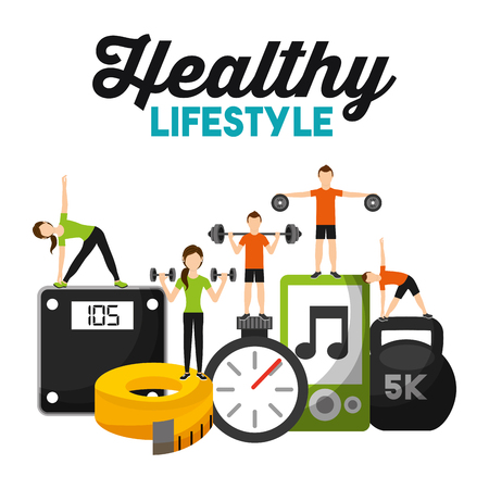 people physical sport training fitness healthy lifestyle vector illustration