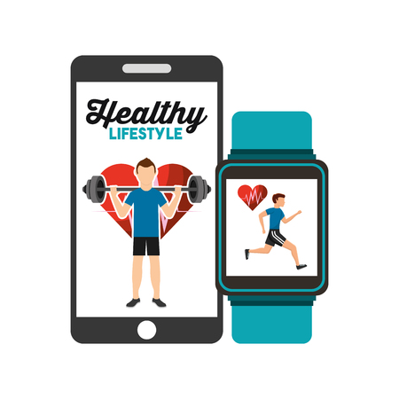 healthy lifestyle smartphone and smart watch app vector illustration