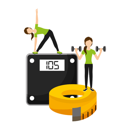 athletic women sport with weight scale and tape measuring vector illustration
