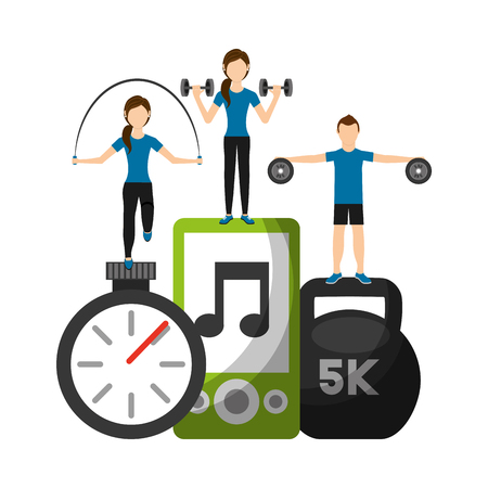 people athletic fitness weight barbell rope  chronometer and mp3 vector illustration Banque d'images - 95391255