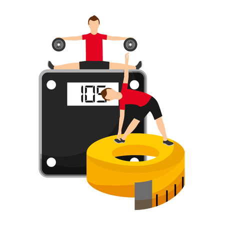 men making sport fitness exercises with weight scale and tape measuring vector illustration Illustration