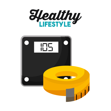 sport weight scale and tape measure healthy lifestyle vector illustration Banque d'images - 95389812