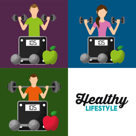 healthy lifestyle set people weight scale fruit vector illustration Illustration