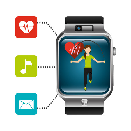 smart watch woman jumping heart rate application healthy lifestyle vector illustration Illustration