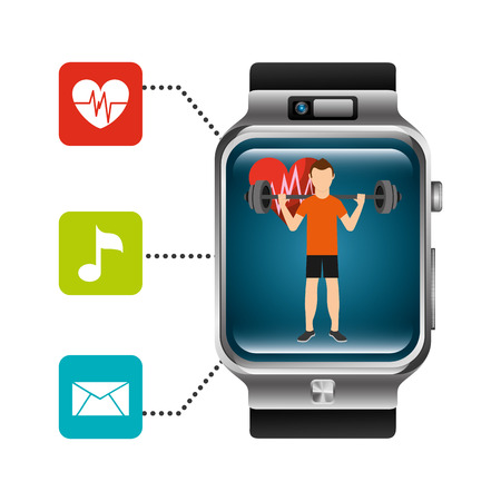 smart watch man lifting weight heart beat music message app vector illustration
