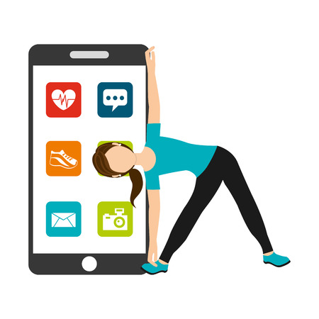 woman athlectic physical healthy life smartphone applications web vector illustration