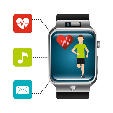 smart watch runner heart rate technology healthy vector illustration