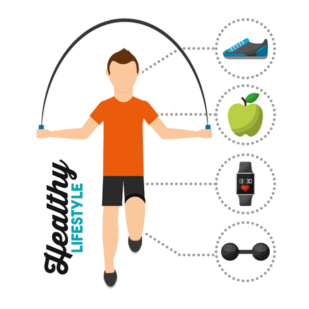 man jumping rope training healthy lifestyle vector illustration Illustration