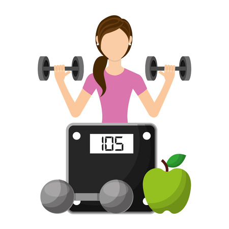 sporty woman lifting a heavy weight barbell with fruit and weight scale vector illustration
