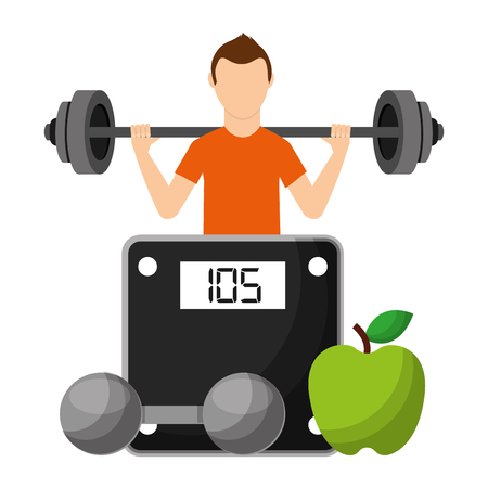 sportsman with fruits and dumbbell choosing healthy lifestyle vector illustration Stock Vector - 95390600