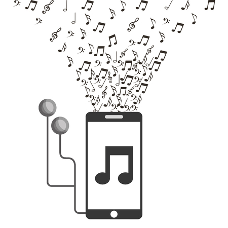 smartphone earphones music note application vector illustration