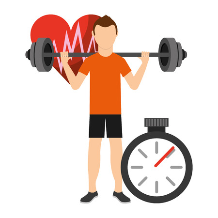 Fitness aerobic strength and body shaping exercises. Man Strength and Resistance training. vector illustration. vector illustration