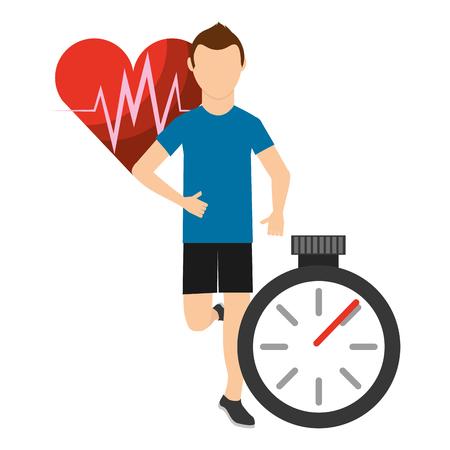 sport man running monitoring heart stopwatch vector illustration vector illustration Illustration