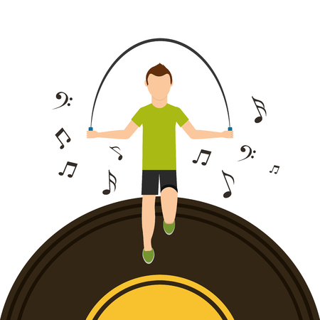 sport man jumping rope with vinyl disk musical note vector illustration