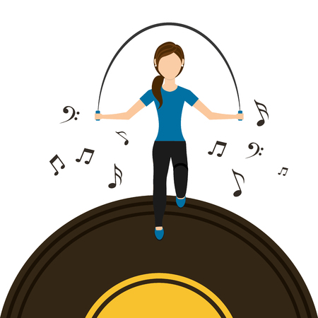 sport woman jumping rope vinyl disk music vector illustration