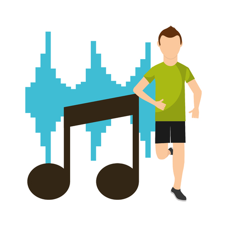 sport man running in front note musical equalizer vector illustration 向量圖像