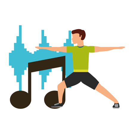 sport man physical stretching musical equalizer vector illustration Çizim