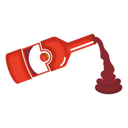 Diseño de ilustración de vector de icono de botella de salsa de tomate