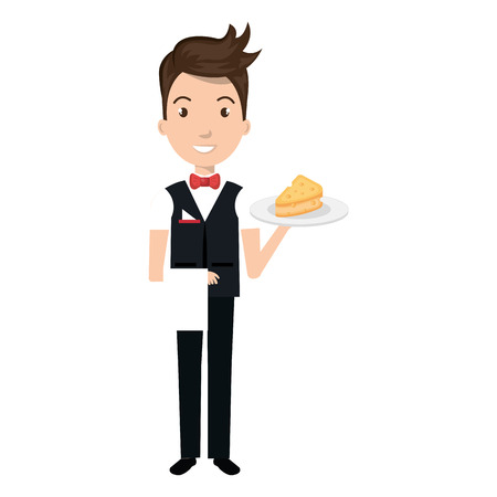 elegant waiter with cheese in tray vector illustration design Stock Vector - 95411127